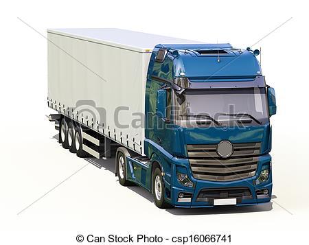 450x357 A Modern Semi Trailer Truck On Light Background Drawing