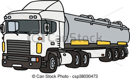 450x274 Big Tank Semitrailer. Hand Drawing Of A Funny White Towing
