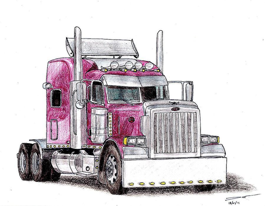 Semi Truck Drawing at GetDrawings | Free download
