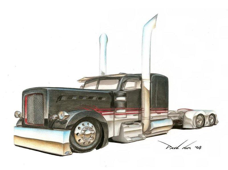 Semi Truck Drawing At Getdrawingscom Free For Personal
