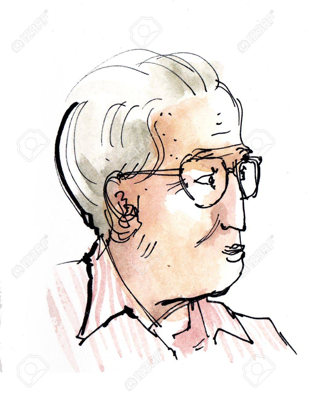 1031x1300 Old Man, Senior Sketch, Water Colour Painting Stock Photo, Picture