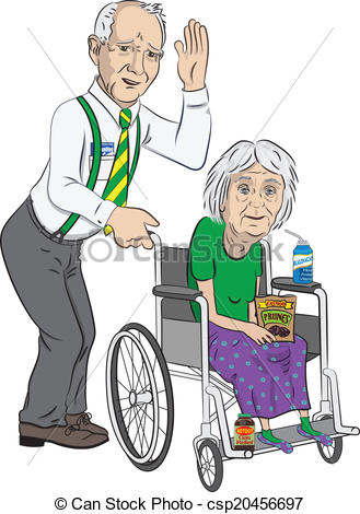 329x470 Senior Man With Lady In Wheelchair. A Funny Cartoon Of A Eps