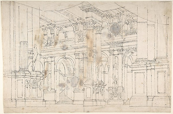 600x395 Fabrizio Galliari Outline Drawing Stage Set Design