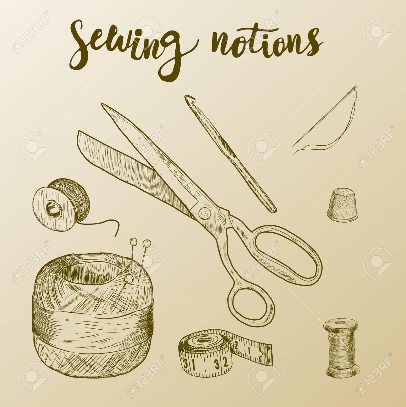 1297x1300 Sewing Notions. Hand Drawn Thread, Needle, Scissors, Ball