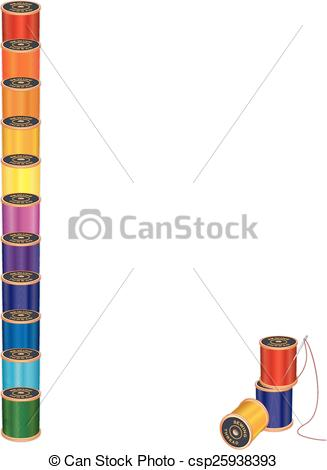 327x470 Sewing Needle, Threads Poster Frame. Spools Of Multicolor Eps