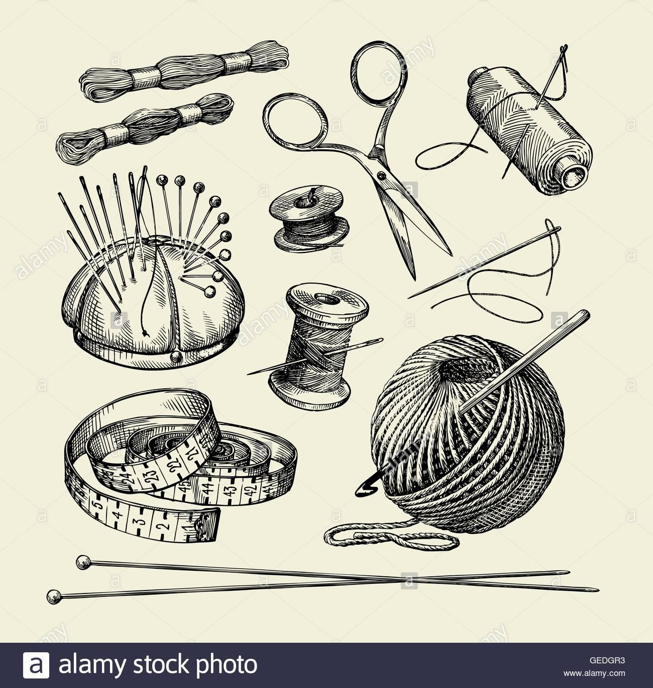 1300x1368 Sewing Notions. Hand Drawn Thread, Needle, Scissors, Yarn