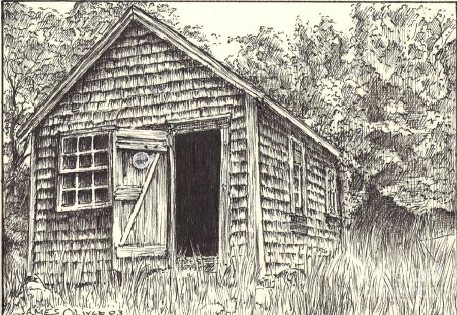 900x621 Old Lanes Cove Fishing Shack Drawing By James Oliver