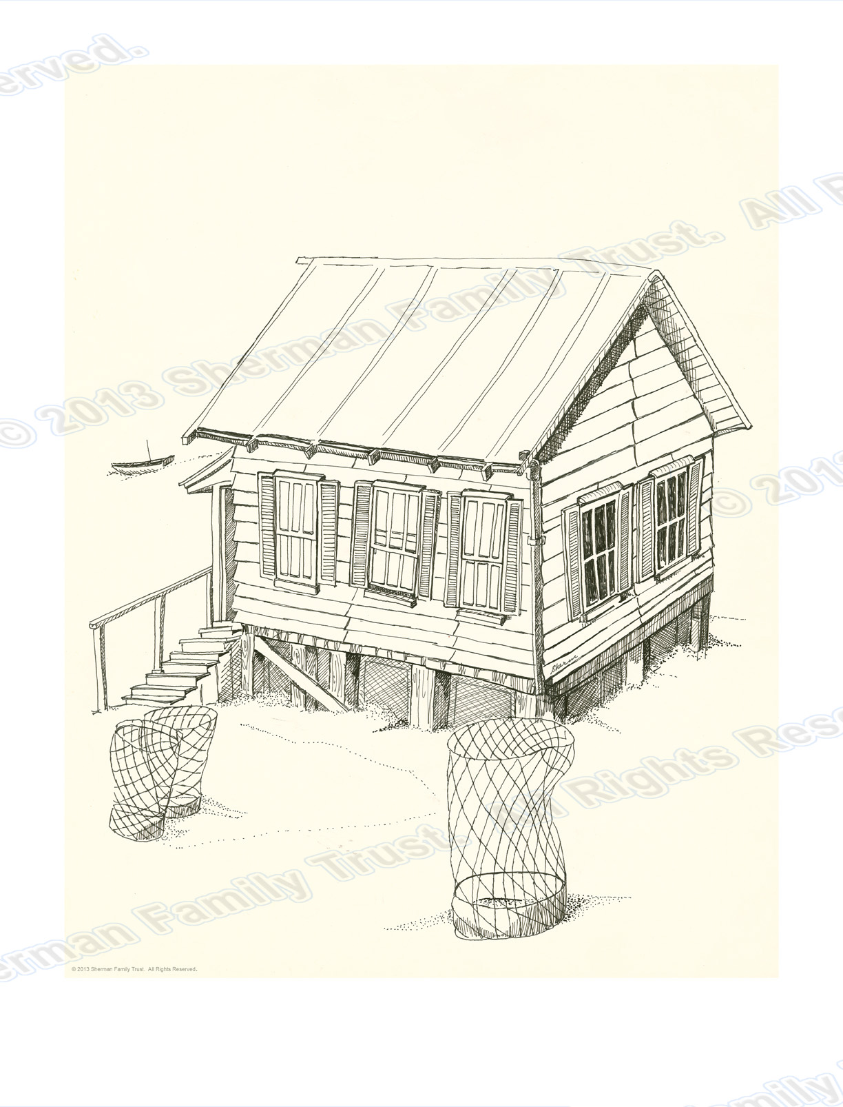 1224x1606 Pen Amp Ink Musings Beach Shack Pen And Ink Contemporary Art