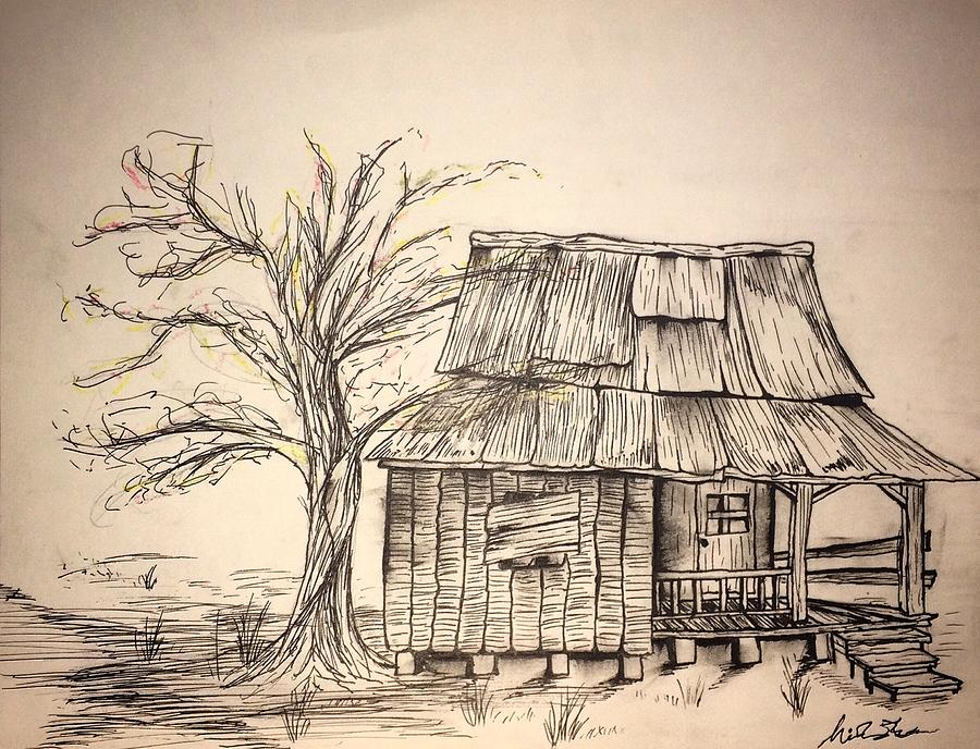900x688 Shack Drawing In Pen Drawing By Nicholas James