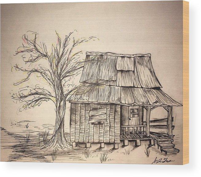 655x575 Shack Drawing In Pen Wood Print By Nicholas James