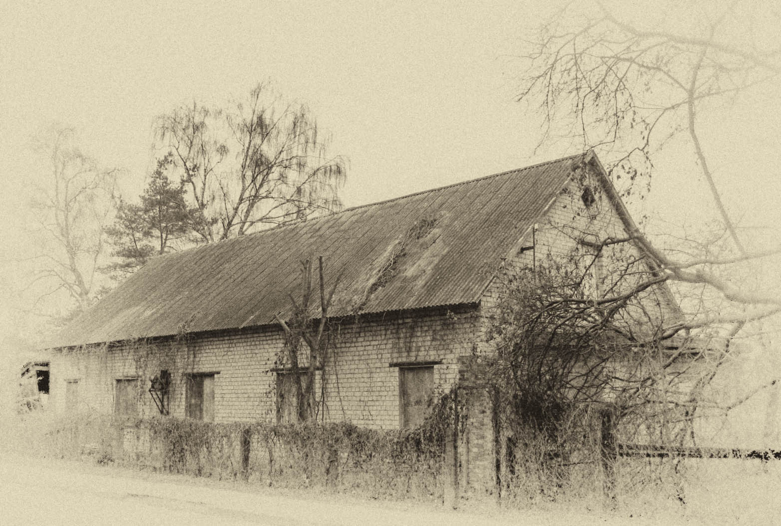 1564x1054 Wallpaper Drawing, Building, Winter, House, History, Town, Barn