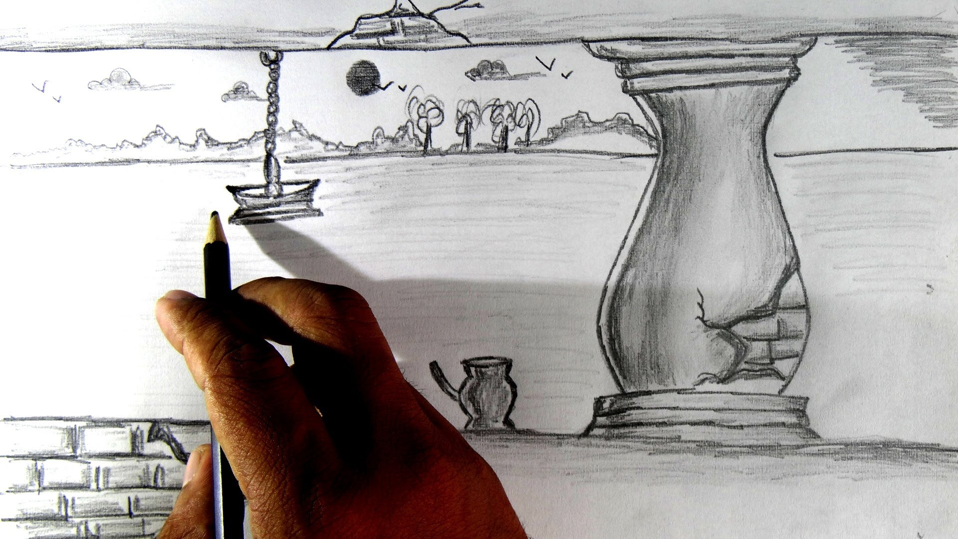 1920x1080 How To Draw A Simple Scenery Pencil Drawing.
