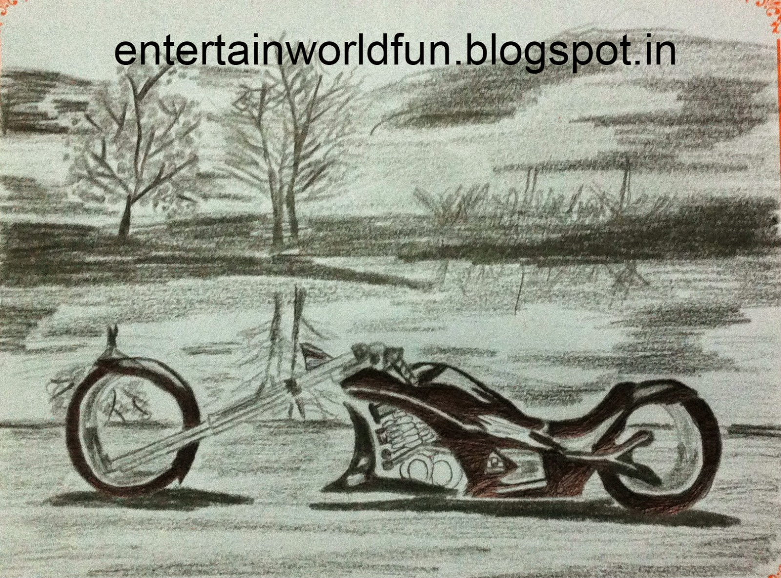1600x1186 Pictures Bike Scenery Pencil Drawings,