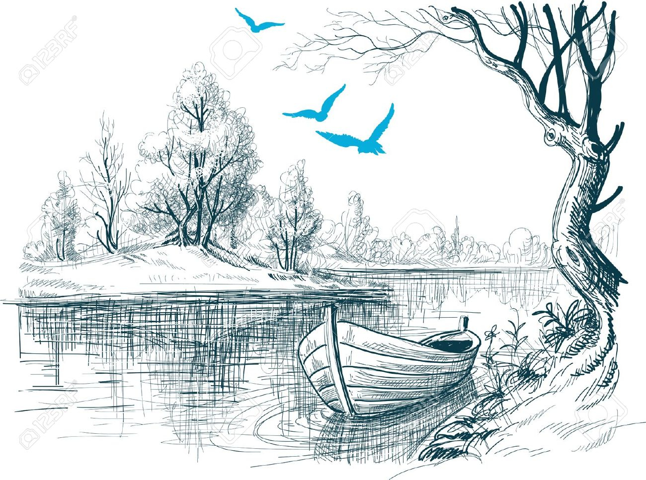 1300x967 Scenery Of River Pencil Drawings