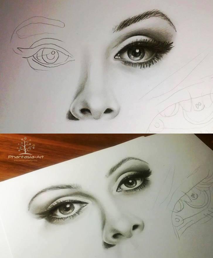 727x881 Eyes, Nose And Lips Pencil Drawing Tutorial. Como Cuando Quedan