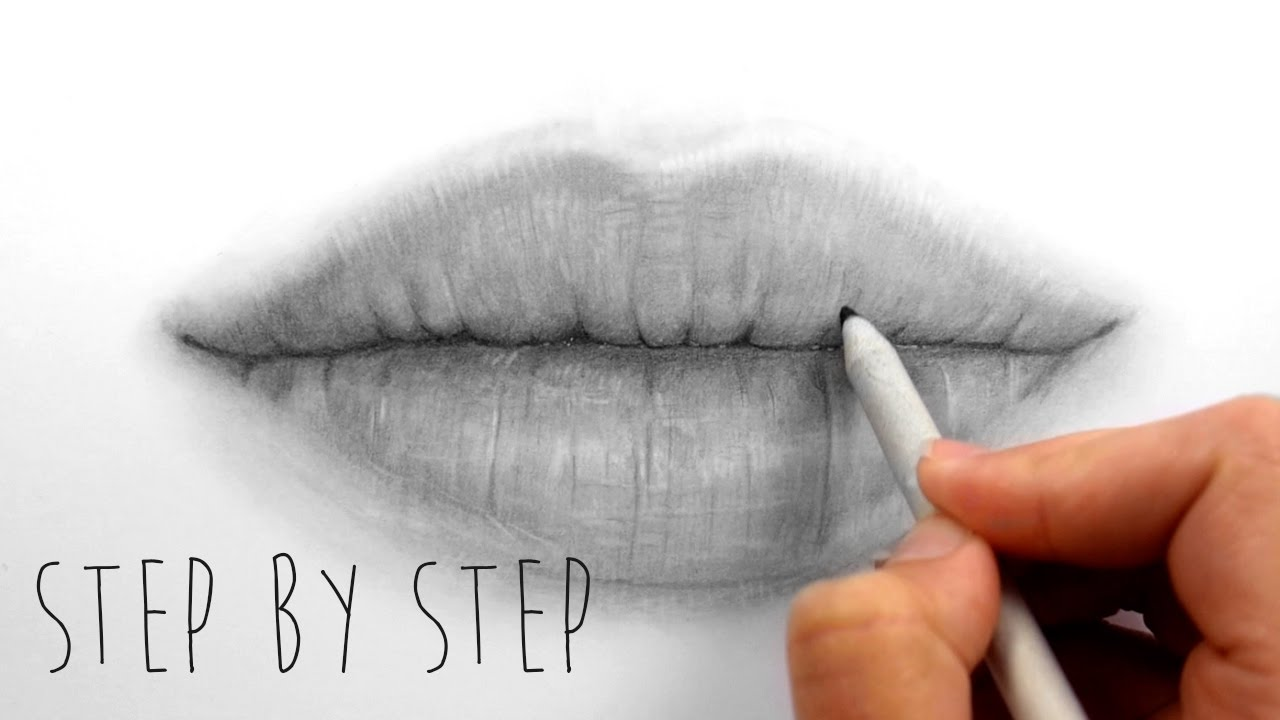 1280x720 Step By Step How To Draw Shade Realistic Lips With Graphite