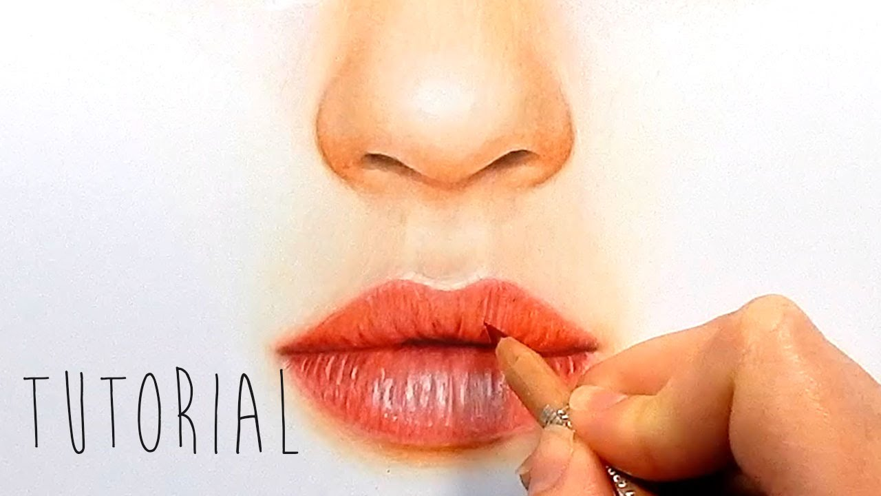 1280x720 Tutorial How To Draw, Color Realistic Lips With Colored Pencils
