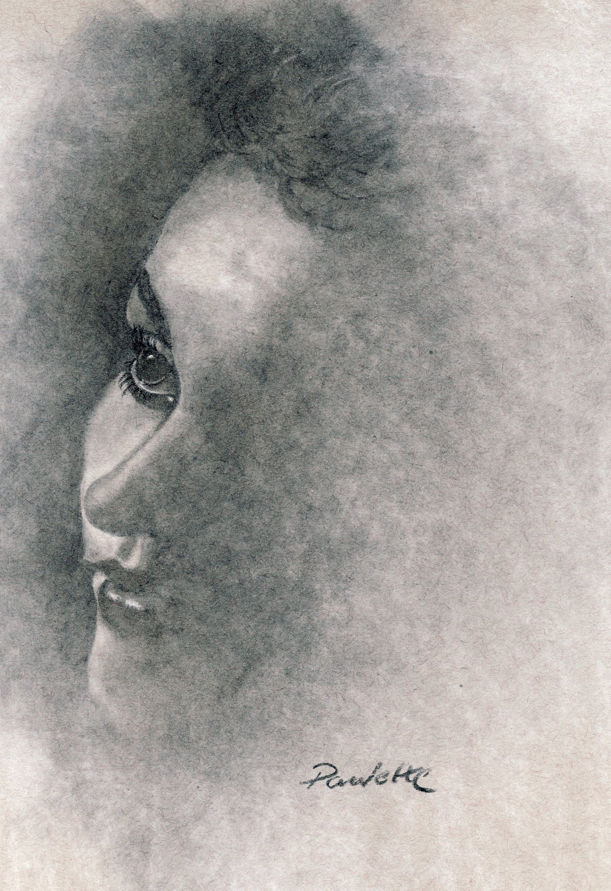 2008x2929 Portrait Drawing In Charcoal Of Woman In The Shadows Paulette