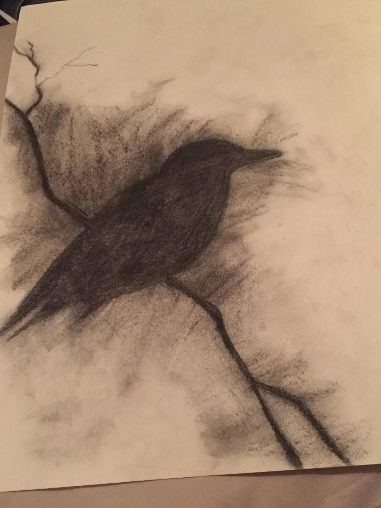 770x1027 Saatchi Art Black Bird In The Shadows Drawing By Gyna Aviles