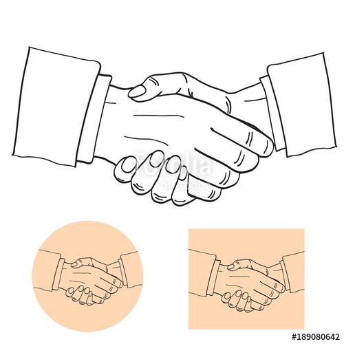 500x500 Businessmen Shake Hands Silhouette Vector Illustration
