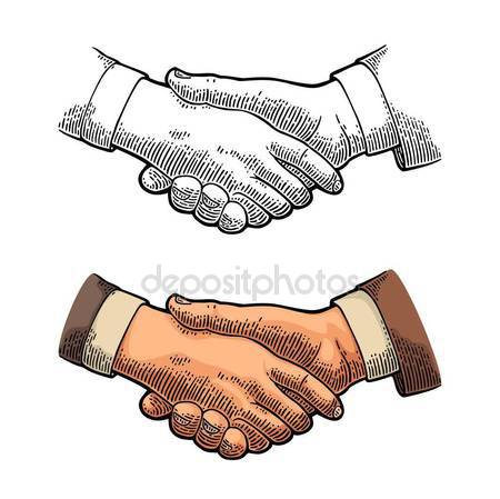450x449 Drawing Shake Hands Stock Vector Onot