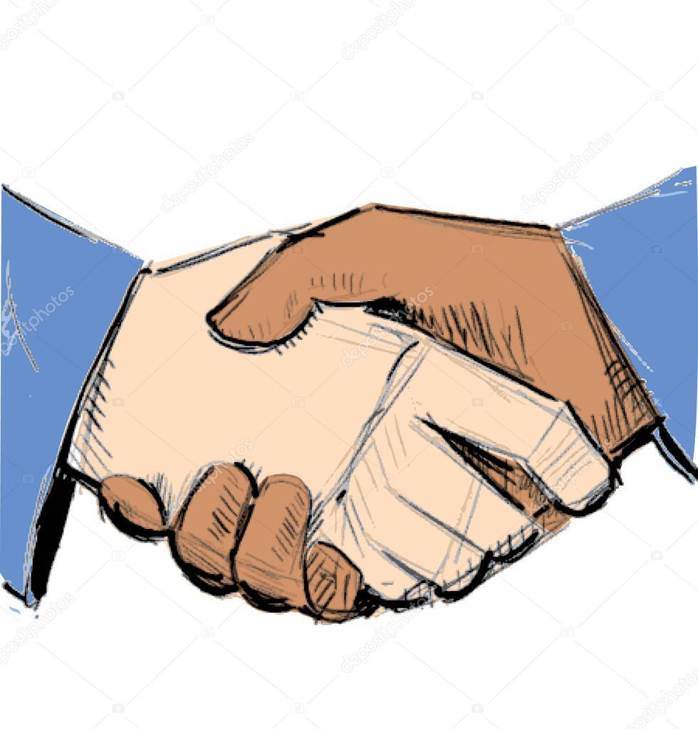980x1024 Hand Shake Between Black And White Man (Handshake) Stock Vector