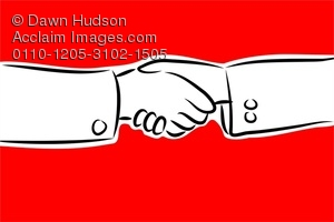 300x200 Line Drawing Of Two People Shaking Hands Clipart Illustration