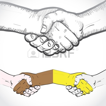 450x450 Sketch Of Two Shaking Hands Royalty Free Cliparts, Vectors,