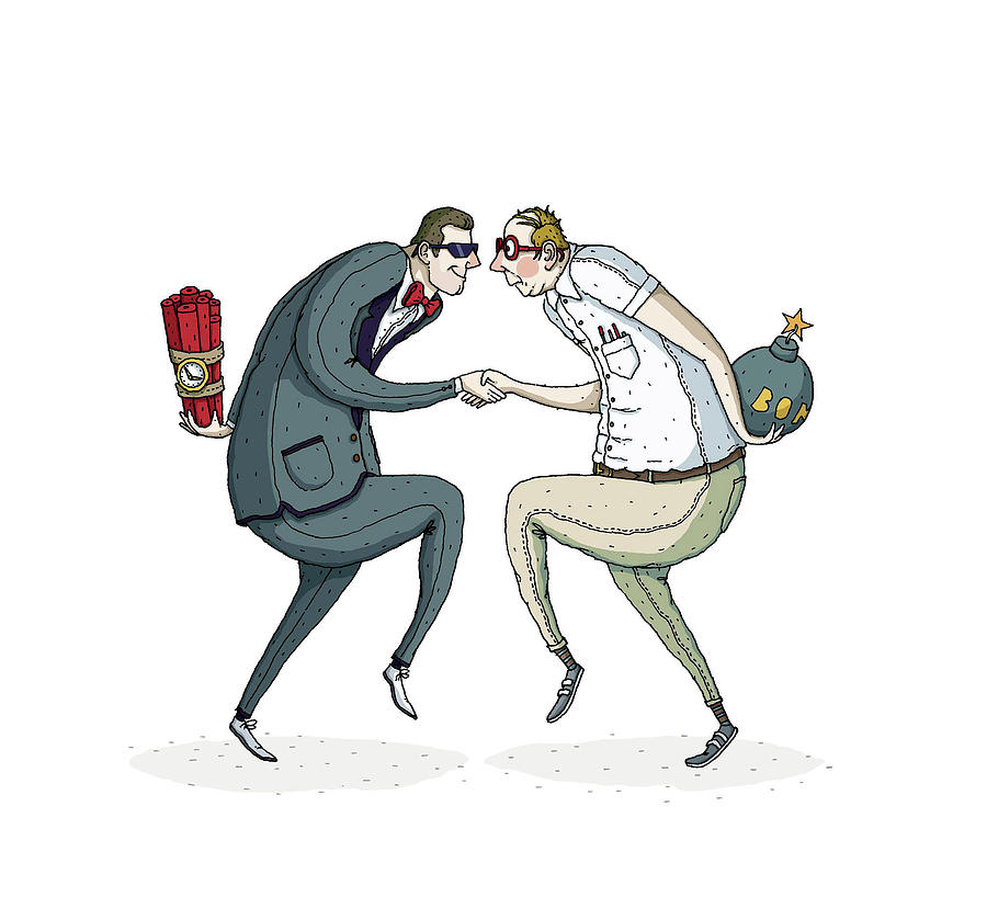 900x839 Two Businessmen Shaking Hands With Bombs Hiding In Hands Drawing