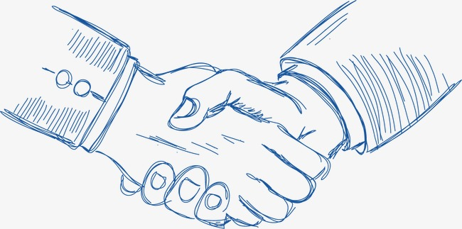 650x323 Vector Hand Drawn Elements Of Commerce, Shake Hands, Arm, Win Win