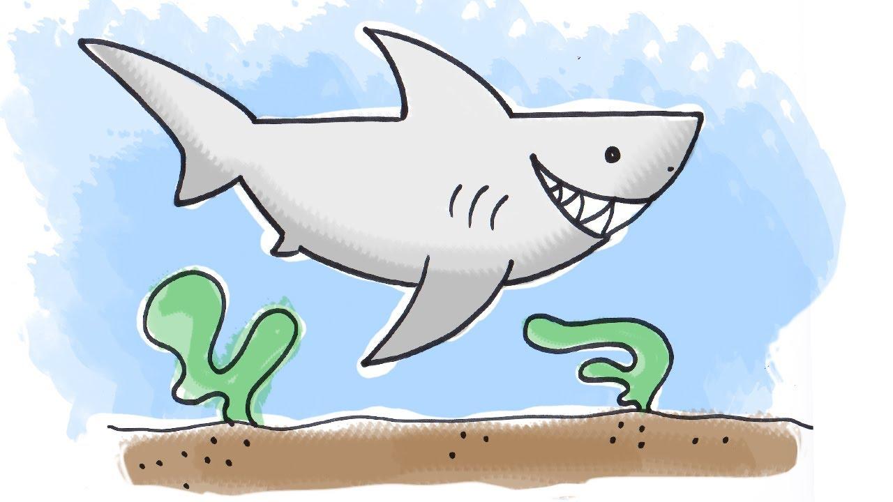 1280x720 How To Draw A Cartoon Shark