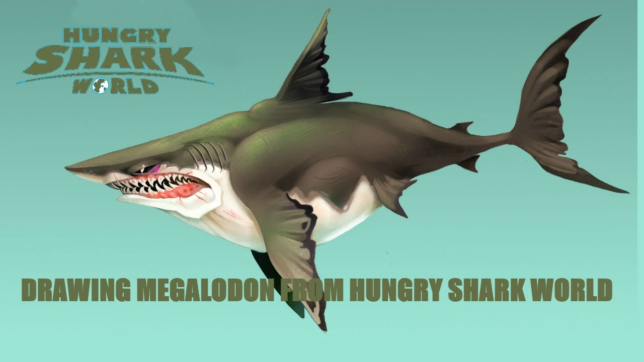 1280x720 Drawing Megalodon From Hungry Shark World