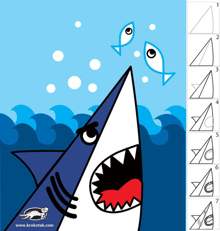 707x744 How to draw a shark in 7 easy steps For The Littles Summer Fun