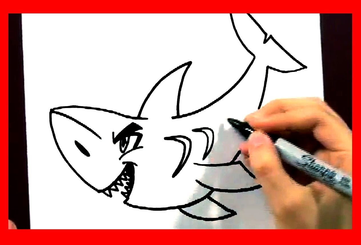 1264x858 How To Draw A Shark In 2 Min