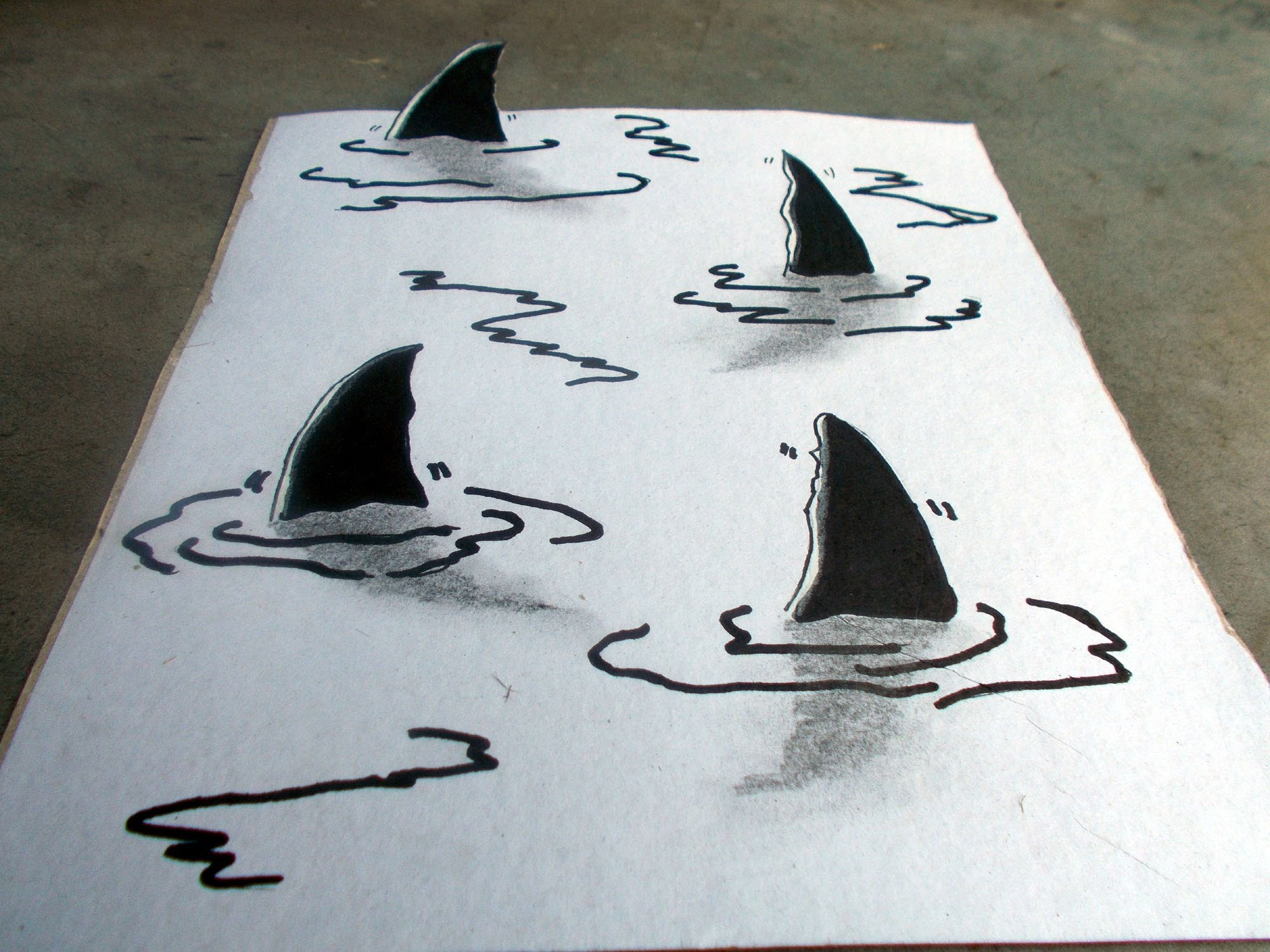 2000x1500 How To Drawing 3d Shark's Fin, Trick Art Amp Optical Illusion, Very