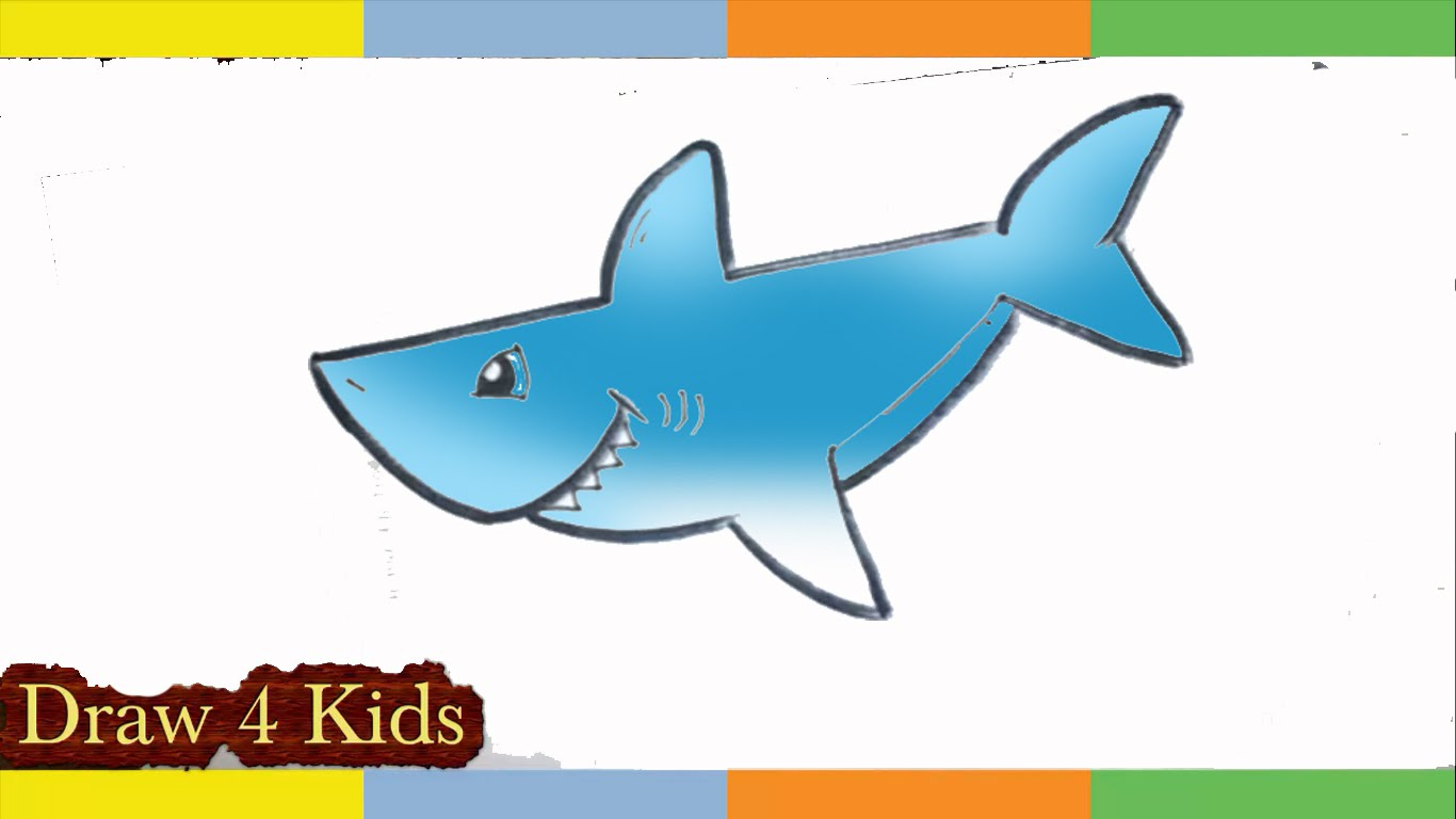 1366x768 How To Draw A Shark Step By Step For Kids Easy Lesson Cute Cartoon