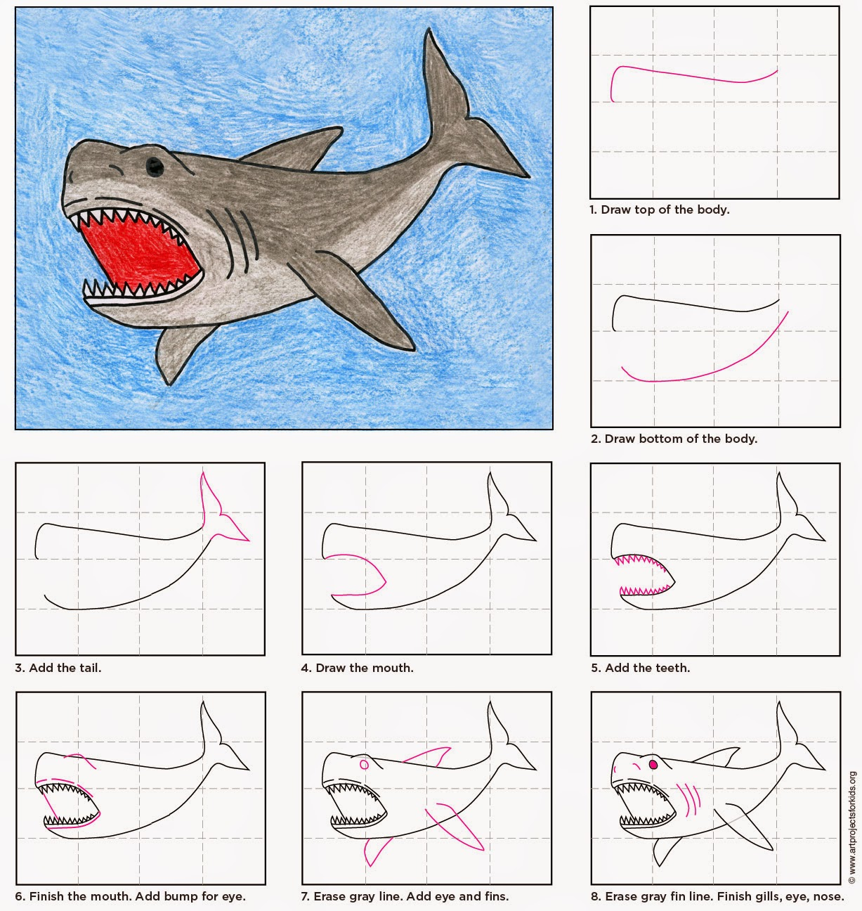 Shark Drawing Step By Step at GetDrawings.com | Free for personal ...