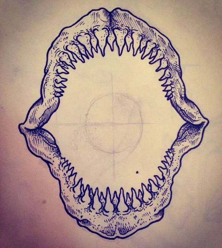 Jaw Line Tattoos: Shark Jaw Drawing At GetDrawings