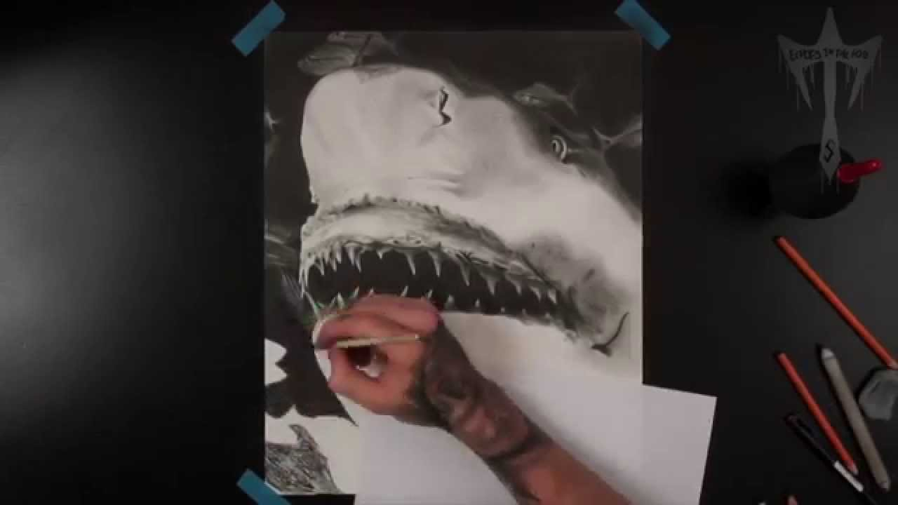 1280x720 Hyper Realistic Drawing Charcoal Shark Pencil Time Lapse