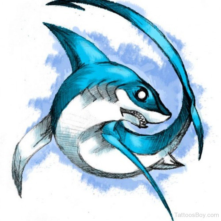 It is a photo of Sweet Shark Tattoo Drawing