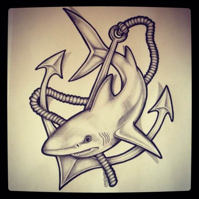 It's just a photo of Exceptional Shark Tattoo Drawing