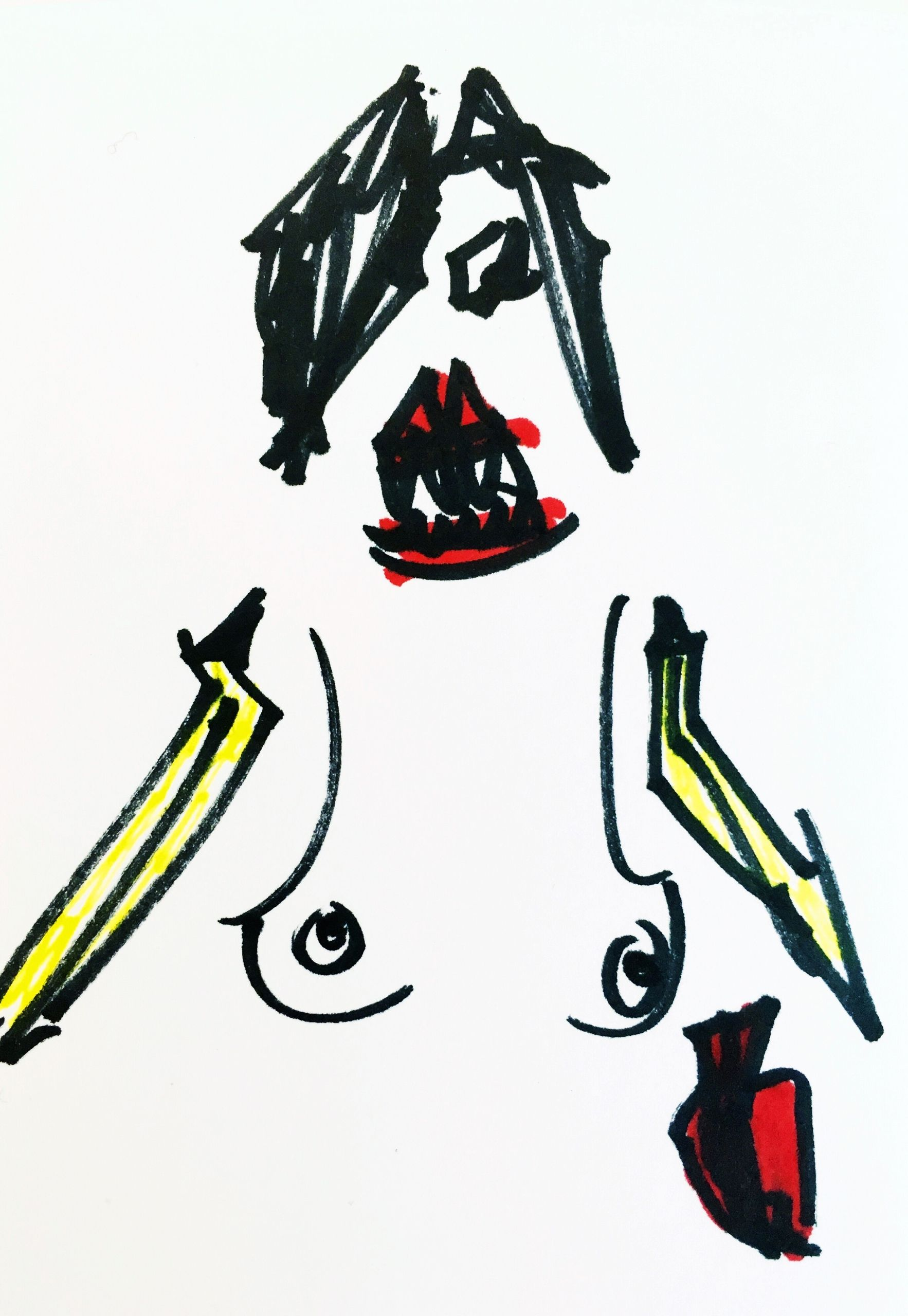 1766x2560 Nude Woman With Banana Arms And Shark Teeth About To Eat Your