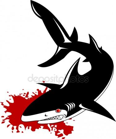 375x450 Graphic Drawing Ink Aggressive Shark With Open Mouth Stock