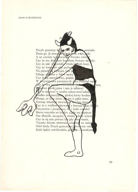 570x793 Dip Pen Drawing On Vintage Polish Book Page She Devil By