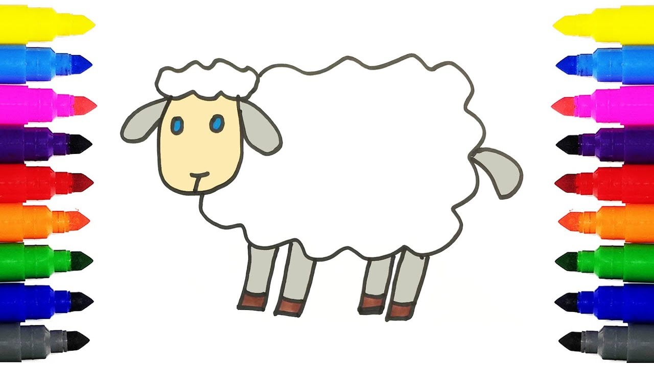 1280x720 How To Draw A Sheep Drawing And Coloring Cartoon Sheep For Kids