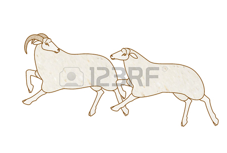 450x304 Drawing Of Running Sheep Stock Photo, Picture And Royalty Free