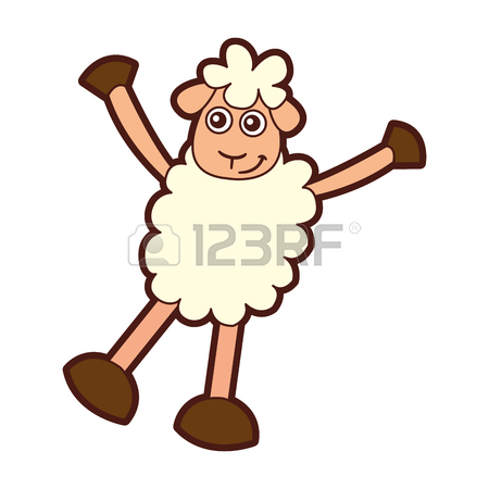 450x450 Cute Sheep Drawing Character Vector Illustration Design Stock