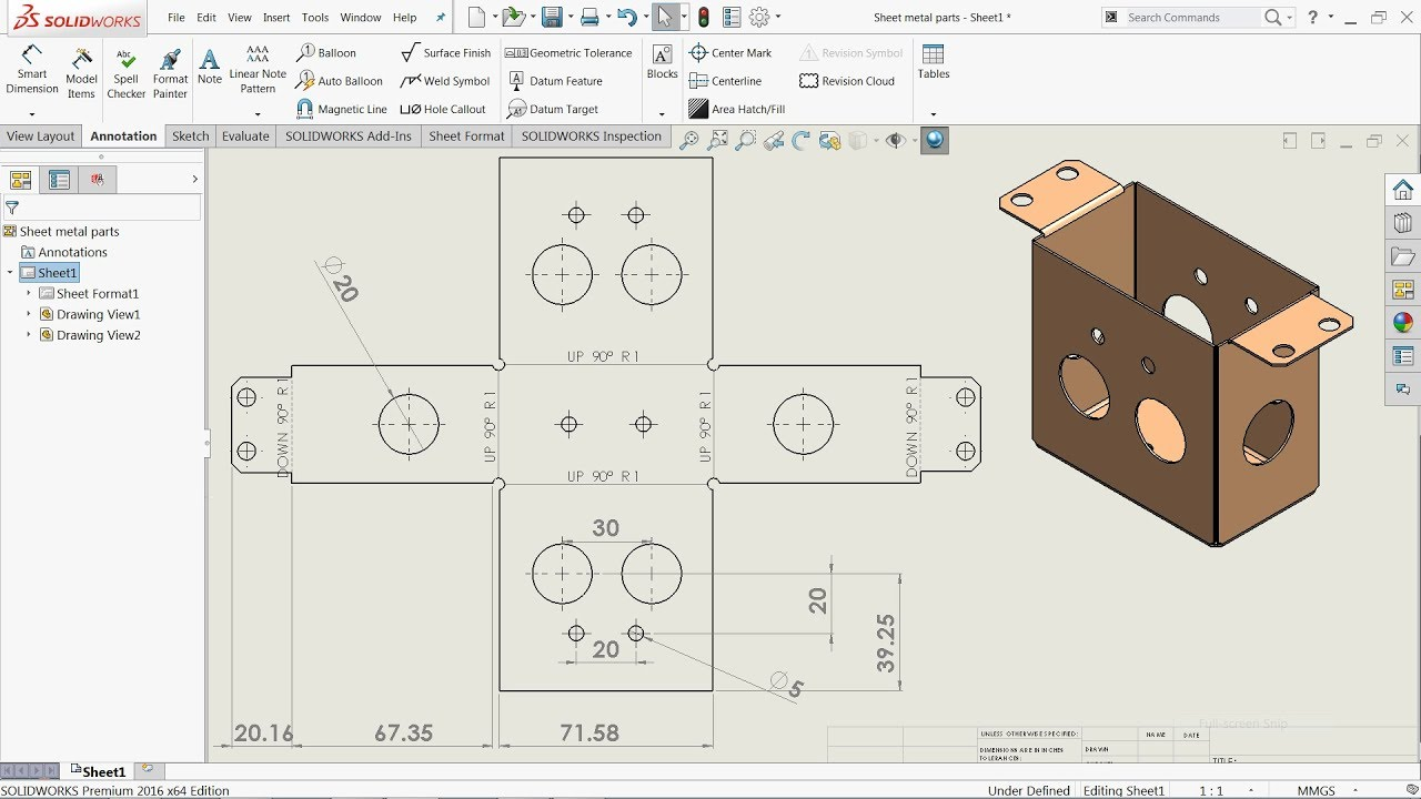 Autodesk Inventor Make Channel Sheet Metal Sheet Drawing