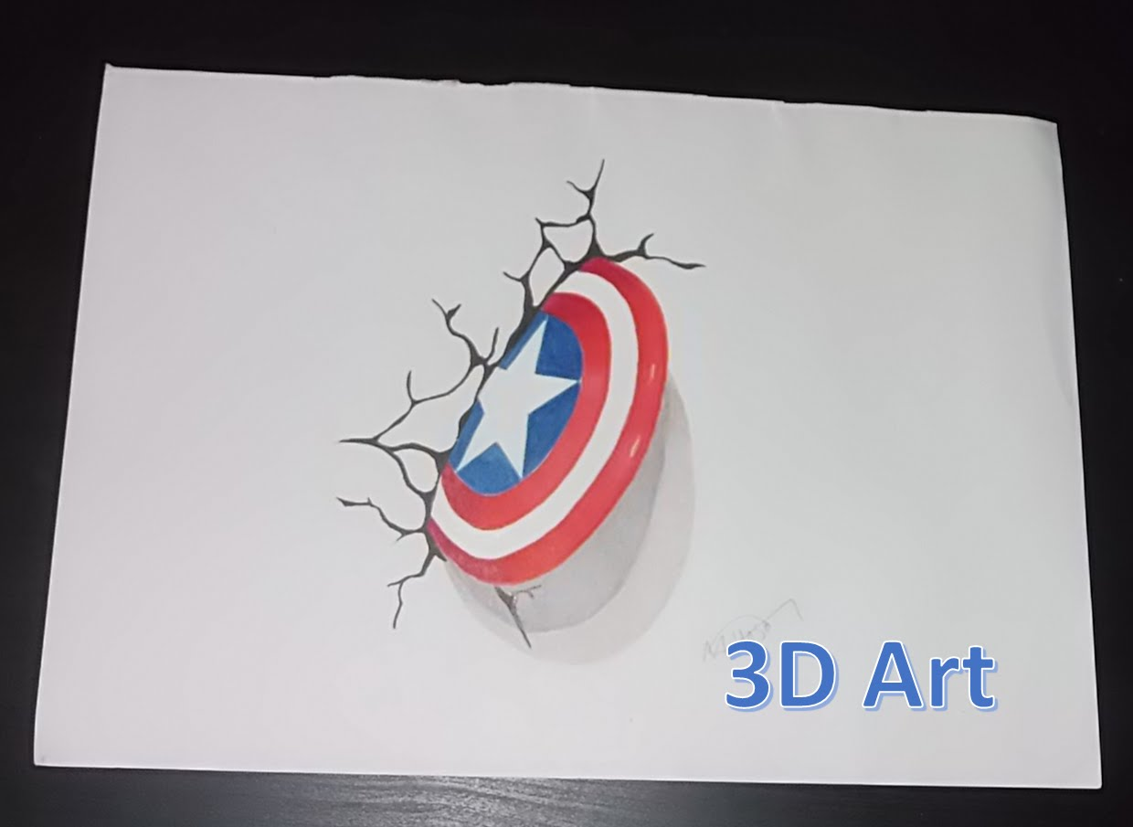 1240x905 Captain America Shield Drawing In 3d