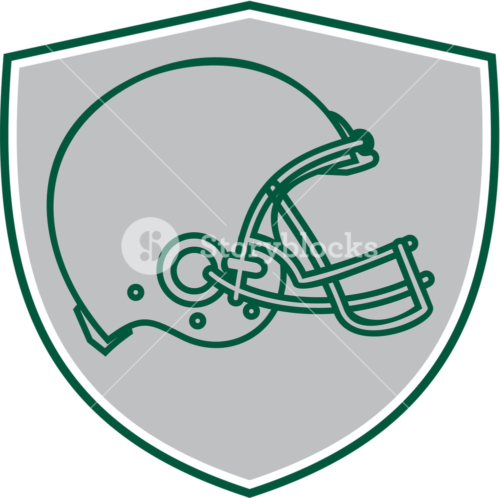 1000x995 Line Drawing Illustration Of An American Football Helmet Viewed
